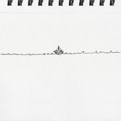 Sailboat on waves, pen and ink drawing on paper texture, notebook page artwork.