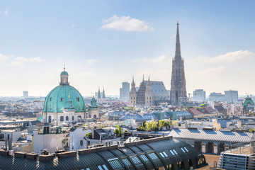 View over Vienna Skyline with St. Stephen's Cathedral at morning, Vienna, Austria