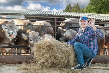 Male rancher in a farm