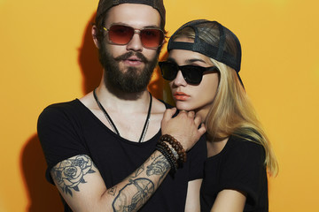 beautiful couple together. Tattoo Hipster boy and girl