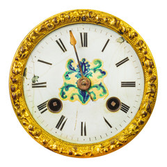 Ancient ornamental clock face isolated on white