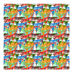 vector pattern from fish tail different colors