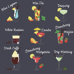 Vector Illustration of Different Drinks and Cocktails