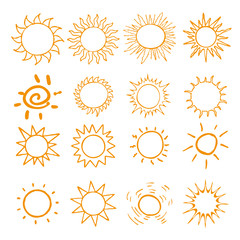 Hand drawn set of different suns isolated. Vector illustration. Elements for design