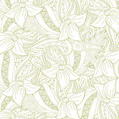 Abstract floral zentangle background. Doodle perfect for cards, invitations, wedding, t-shirt, brochure, flyer, presentation. Floral design with narcissus. Vector illustration.