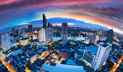 Bangkok City Skyline with chaophya river, Thailand. Wall mural