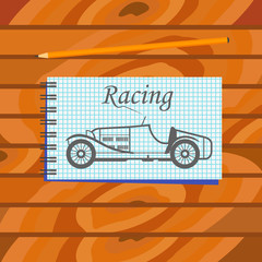 Graphic drawing of racing car in a notebook