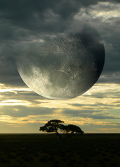 Surreal composition with sunset on the savanna and a giant moon piercing a cloudy sky, for science fiction or fantasy backgrounds.