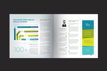 Brochure layout template. Square design.