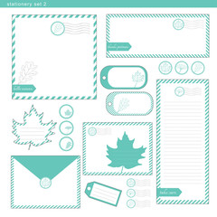 Stationery set 2 green leaf