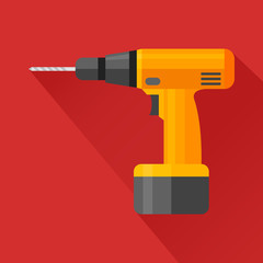 Electric hand drill flat icon