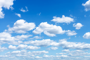 Poster Ciel many white clouds in summer blue sky