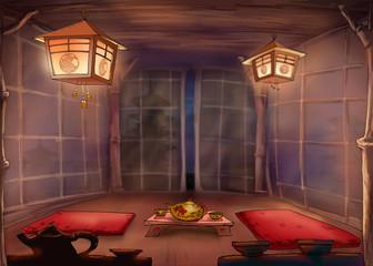 Chinese tea ceremony. Tea Room. Illustration.