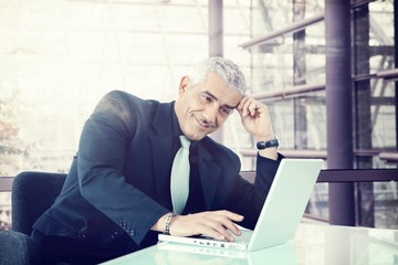 Business executive working with laptop