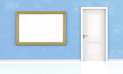 closed white door and blank frame on blue wall