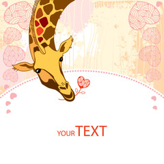 Card with cute Giraffe in love with a flower