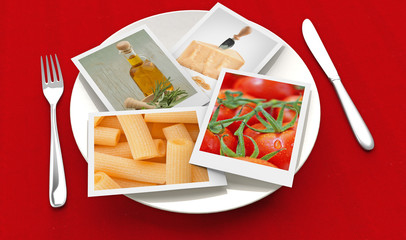 photographs of food inside a plate, fork and knife on red background