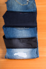 Display of Various Blue Jeans Fanned Out