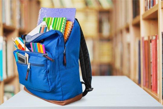 School, backpack, back.