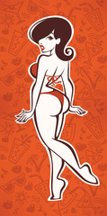 summer hand drawn patterns and cartoon sexy pinup girl