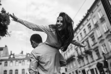 Couple have fun in the city