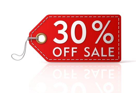 30 percent off sale tag