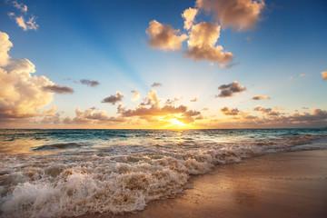 Aluminium Prints Beach Sunrise on the beach of Caribbean sea
