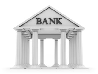Banking concept, ancient bank building isolated on white background