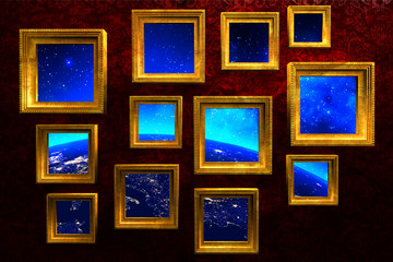 Gold vintage picture frames with earth, stars and space photo collage, art gallery on red grunge wall background