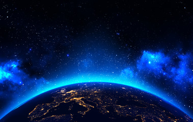 Earth view from outer space background with night city lights, blue shining stars and galaxy