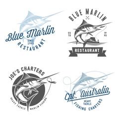 Set of marlin fishing emblems, badges and design elements