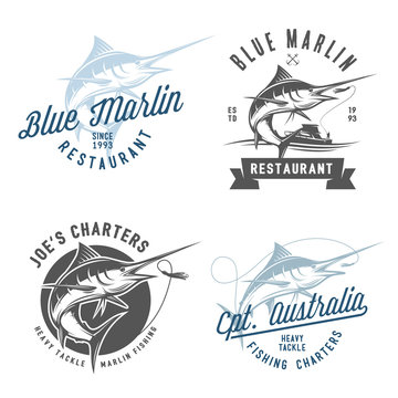 Set of marlin fishing emblems, badges and design elements