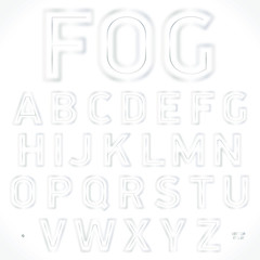 Font fog, stylish alphabet. Best for use for posters, cards, flyers and web design. Vector illustration.