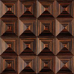 Abstract paneling pattern - pyramidal pattern - Ebony wood texture