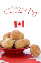 Canada Day celebration with plate of donut holes.
