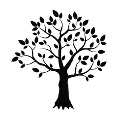 Black vector tree with leafs