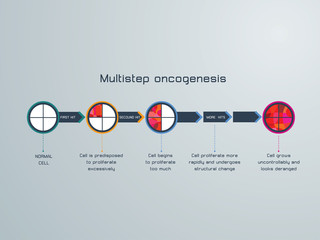 vector illustration of the  Multistep oncogenesis