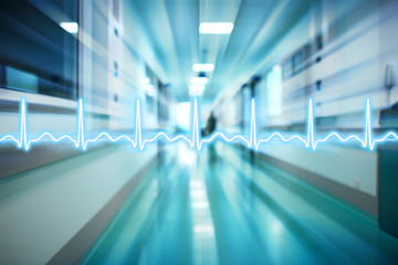 ECG line on the background of the corridor of the hospital medic