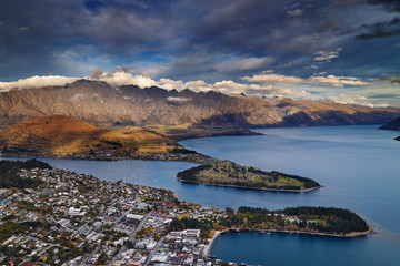 Wall Mural - Queenstown view at sunset