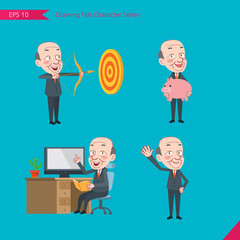 Set of drawing flat character style, business concep ceo activities - hit, piggy bank, Consulting, farewell