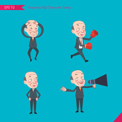 Set of drawing flat character style, business concept ceo  activities - Disappointment, notice, boxing, confidence, Competition