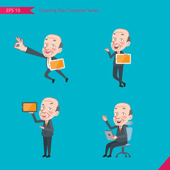 Set of drawing flat character style, business concept ceo activities - tablet device, flying, explain, counsel