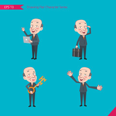 Set of drawing flat character style, business concept ceo activities - introducing, greeting, masterkey, global business