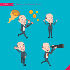 Set of drawing flat character style, business concept ceo activities - funding, ability, counsel, finding