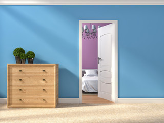 Modern blue hallway with open door. 3d illustration