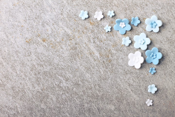 Abstract blue flower on marble background