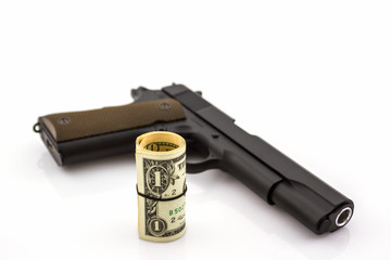 Close up money with Gun .