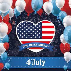 USA Flag Paper Heart Balloons