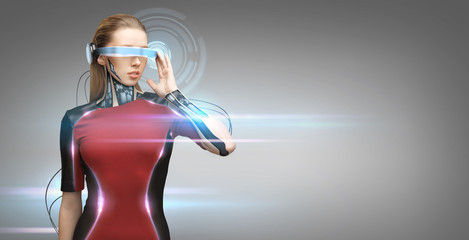 woman with futuristic glasses and sensors