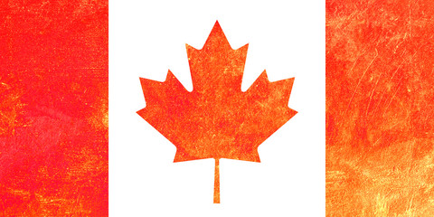 Canadian Flag on grunge cement background.